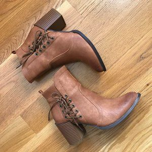 OLIVIA MILLER Brown Ankle Bootie Size 8